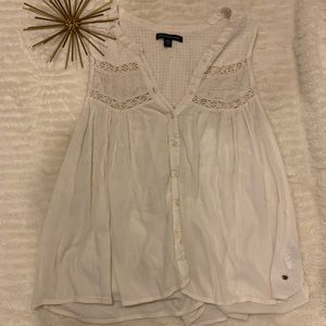 Like New American Eagle White / Cream Tank Medium